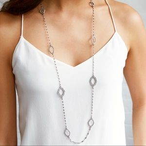 Modern mosaic long station necklace